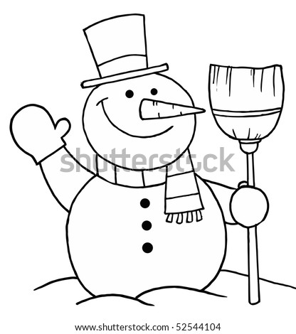 Black And White Coloring Page Outline Of A Snowman With A Broom - stock vector
