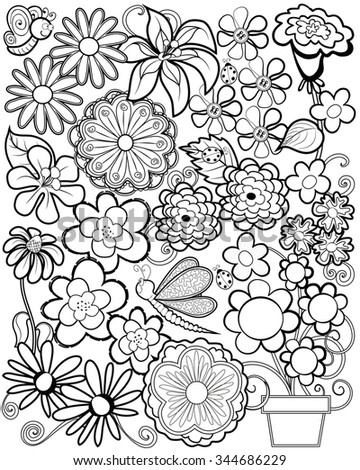Black And White Coloring Page Whimsical Flowers