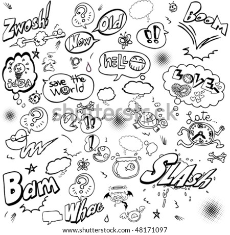 black and white comic cartoons - stock vector