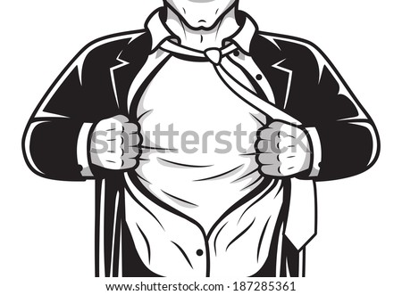 Black and white comic male super hero in costume and tie opening shirt print template vector illustration - stock vector