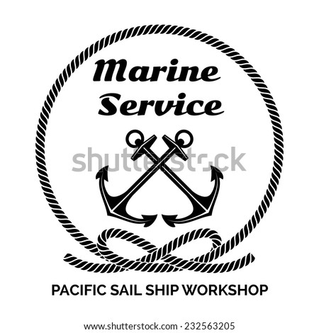 Black and White Company Logo Graphic Design for Yachting Marine Service Business. Emphasizing Anchors Inside a Rope. - stock vector