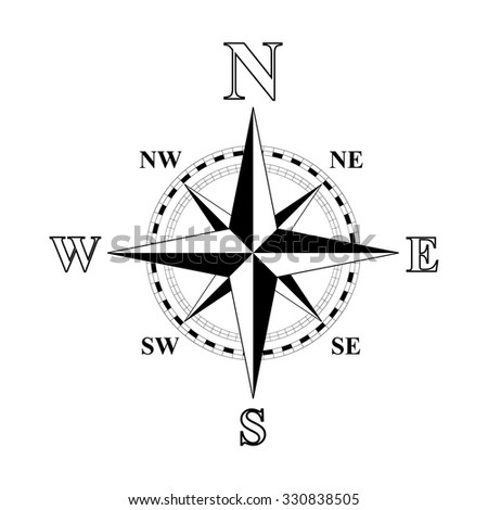 Black and white compass rose vector illustration.