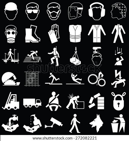 Black and white construction manufacturing and engineering health and safety related graphics set isolated on black background - stock vector