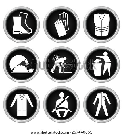 Black and white construction manufacturing and engineering health and safety related icon set isolated on white background - stock vector