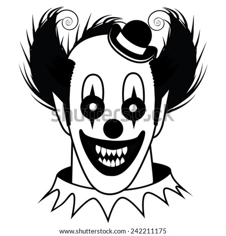 Black and white Creepy Clown EPS 10 vector stock illustration - stock vector