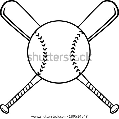 Black and White Crossed Baseball Bats And Ball. Vector Illustration Isolated on white - stock vector