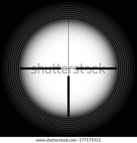 Black-and-white crosshair with blank space. Military and weapon - stock vector