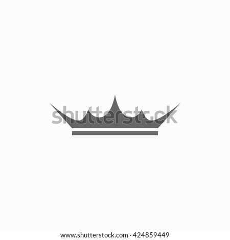 Black and white crown icon isolated on white background. Crown with sharp ends. Crown icon in flat style - stock vector