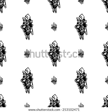 Black and white crystals minerals topaz and amethyst rocks hand drawing vector seamless pattern on white background. Set of isolated elements. Chess grid order pattern.