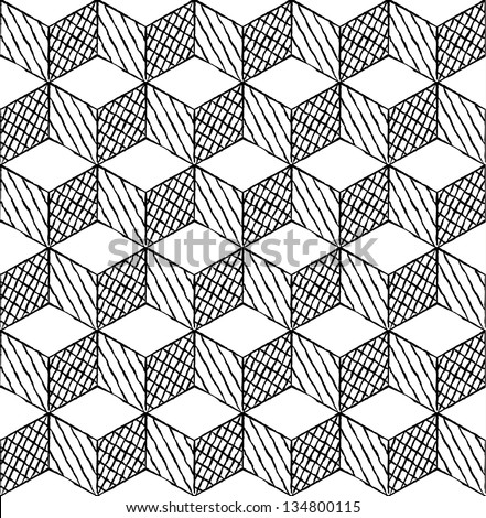 Black and white cubes puzzle seamless pattern - stock vector