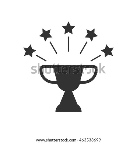 Black and white Cup with stars; sport award; sports victory emblem; Olympic Cup vector illustration isolated on white; cup icon; cup symbol; Olympic games in Rio de Janeiro 2016; summer football cup