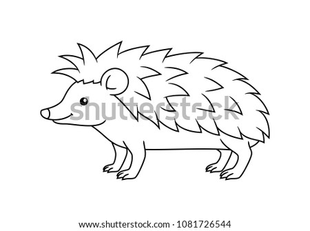Black And White Cute Cartoon Hedgehog Coloring Pages For The Children Vector Illustration