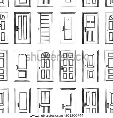 Black white cute kids seamless pattern stock vector for Design patterns of doors