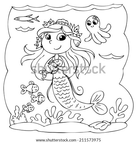 Black and white cute mermaid swimming in the ocean. - stock vector