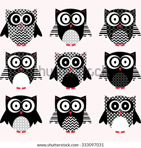 Black and White Cute Owl Collections. - stock vector