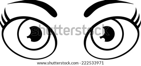 Black And White Cute Women Cartoon Eyes. Vector Illustration Isolated on white - stock vector