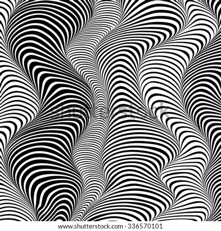 Black and white 3d effect wavy stripes vector abstract background
