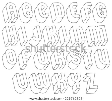 Black and white 3d font made with thin lines, single color simple and bold letters alphabet, best for use in web design and advertising, for use in headlines, elegant symbols with good style. - stock vector