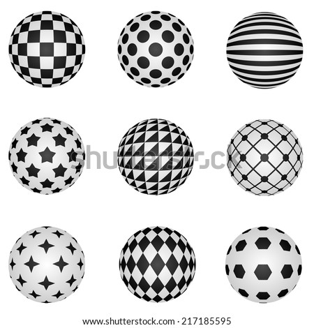 Black and white 3D patterned sphere vector design elements. - stock vector