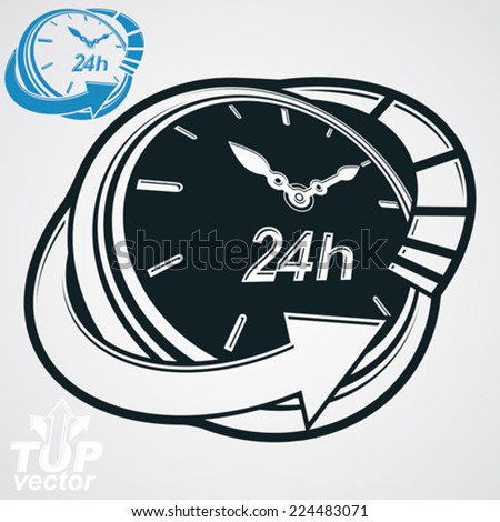 Black and white 3d vector 24 hours timer, around-the-clock pictogram. Time idea dimensional symbol. Twenty-four hours a day conceptual stylized icon. Business time management illustration. - stock vector