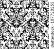 black and white damask seamless background - stock vector