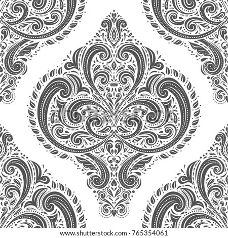 Black And White Damask Vector Seamless Pattern Wallpaper Elegant Classic Texture Luxury Ornament