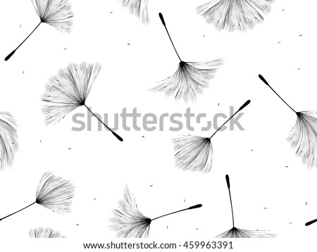 Black and white dandelion seeds seamless background