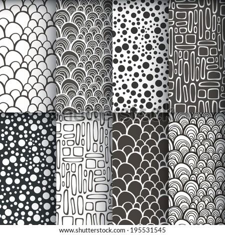 Black and white decorative doodle geometric seamless patterns set. Vector illustration - stock vector