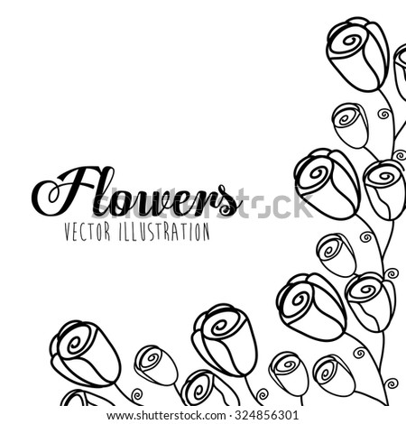 Black and white decorative floral design, vector illustration