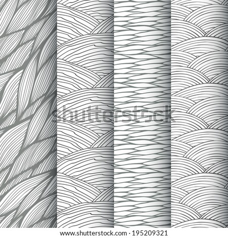 Black and white decorative linear waves seamless patterns set. Vector illustration - stock vector
