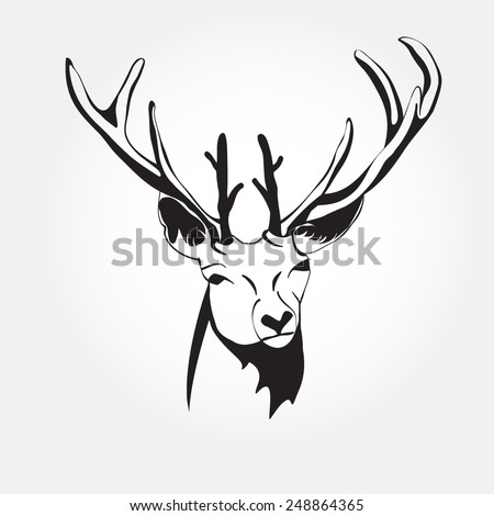 black and white deer head vector graphic image of the animal