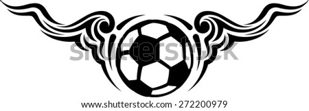 Black and white design of a soccer ball or football with flowing curvy wings - stock vector