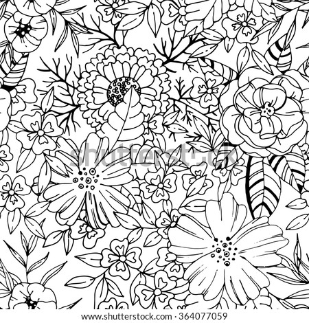 Black and white detailed floral seamless pattern