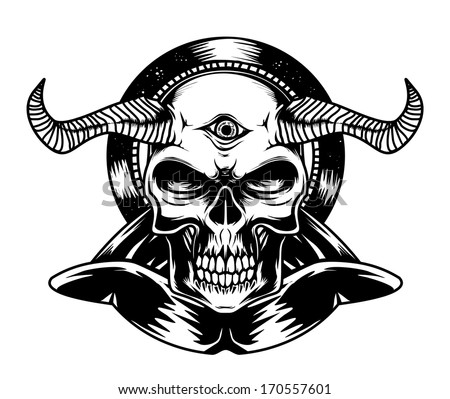 Black and White Devil Torso - stock vector