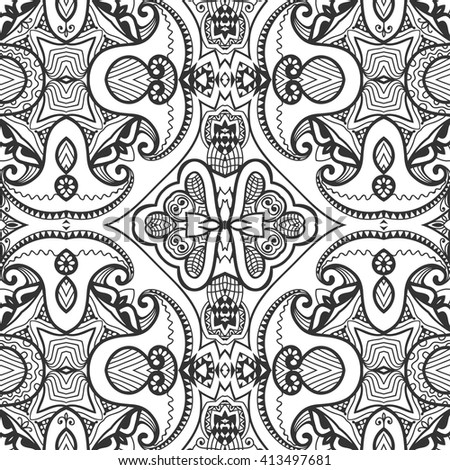 Black and white doodle geometric lace seamless pattern, repeating monochrome sketch texture. Tribal ethnic ornate background. Decorative monochrome graphic pattern. Vector illustration