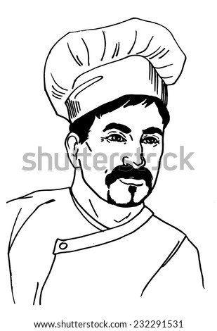 Black and white doodle sketch cook man vector illustration for your design