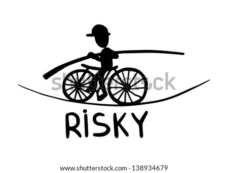 black and white doodle sketch ink drawing of risky, engraving style - stock vector