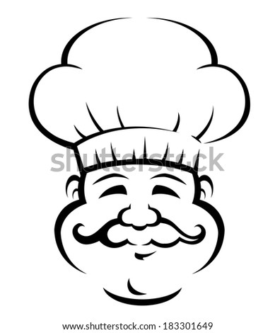 Black and white doodle sketch of a smiling chef or baker logo with a large curly moustache wearing a traditional white toque - stock vector