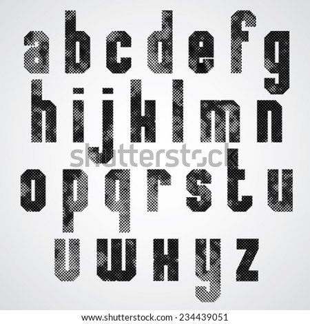 Black and white dotty graphic lower case letters, rectangular industrial font.