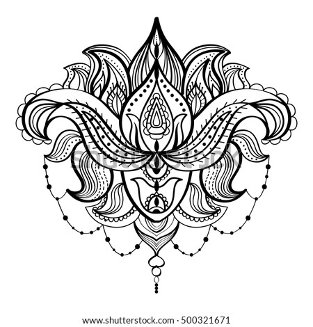 Black And White Drawing Of A Lotus Flower Adult Coloring Book Vintage Bohemian Style