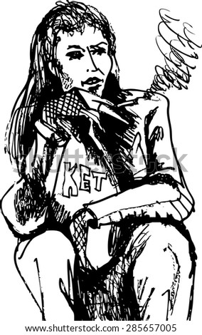 black and white drawing of a smoking girls