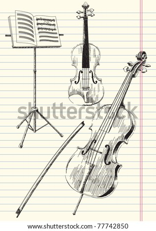 Black and white drawing of classical stringed music instruments - stock vector