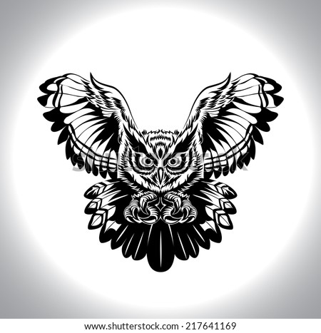 black and white drawing owl , a night bird, for tattoo, decoration or pattern - stock vector