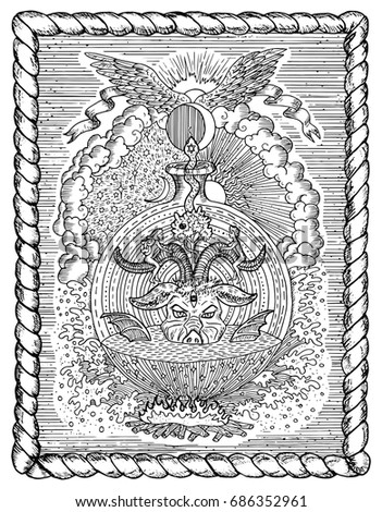Black and white drawing with mystic and christian religious symbols as devil eve and adam
