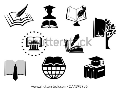 Black and white education or knowledge icons with open books with pens, nibs, quill pens, mortar board hat and a graduate in a cap and gown - stock vector