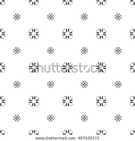 Black and white elegant seamless ornamental art background. Vector seamless pattern with abstract grunge shapes or hand drawn elements. Tribal folk ornament. Delicate wallpaper design - stock vector