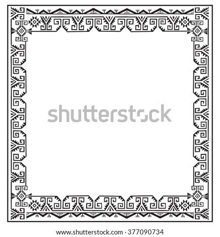 Black White Ethnic Frames Vector Tribal Vector de stock377090734 ...