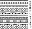 black and white ethnic pattern motifs - stock vector