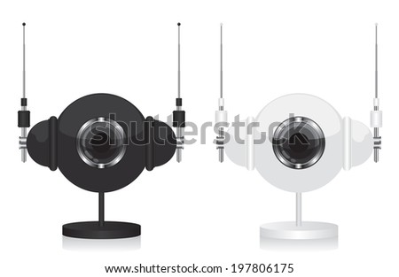 Black and white eye camera and headphones - stock vector