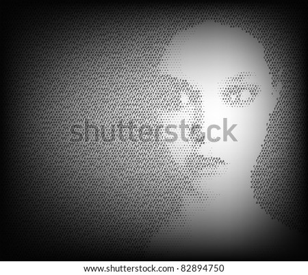 Black and white face - stock vector